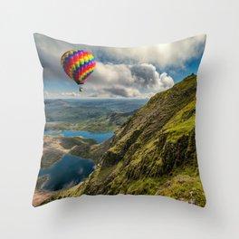 Snowdon Hot Air Balloon Throw Pillow