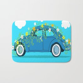blue car flowers Bath Mat