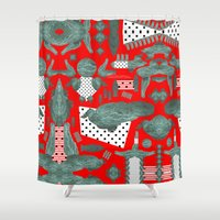 crocodile Shower Curtains featuring crocodile by BUBUBABA