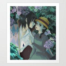 Rain Kiss - Howl and Sophiie Art Print