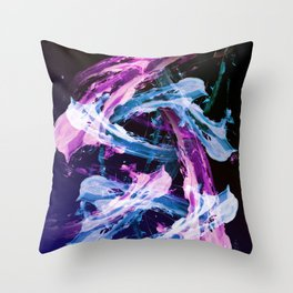 Blue and Magenta Abstract Wisps Throw Pillow