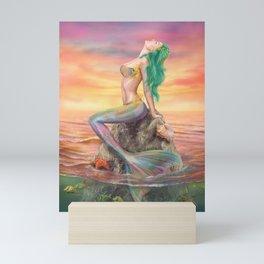 fantasy mermaid at amazing sunset Mini Art Print