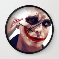 christian schloe Wall Clocks featuring Christian Bale by Pazu Cheng