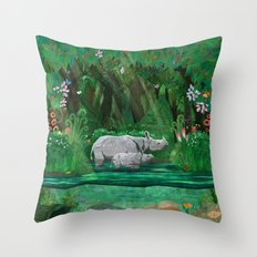 Rhinoceros mom and cub Throw Pillow