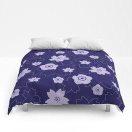 Sakura blossom - midnight blue Comforters