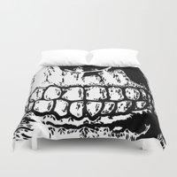 teeth Duvet Covers featuring Teeth by Mike Hague Prints