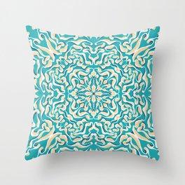 Teal and Yellow Mandala - Stipple - Organic Shapes - Boho Throw Pillow