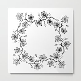 Black and White Floral Wreath Lineart Metal Print