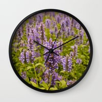 lavender Wall Clocks featuring lavender by Julio O. Herrmann