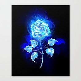 Burning Blue Rose Canvas Print