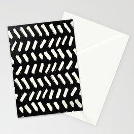 Tribal Dance Dot - Ivory on Black Stationery Cards