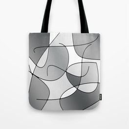 ABSTRACT CURVES #1 (Grays & White) Tote Bag