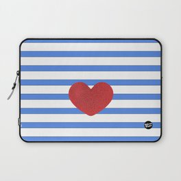 Red Heart and Blue Stripes Laptop Sleeve