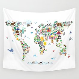 Animal Map of the World for children and kids Wall Tapestry