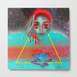 Ocean, Lotus, Space, Waves Metal Print