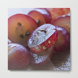 Red grapes cut into pieces Metal Print