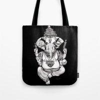 ganesha Tote Bags featuring Ganesha by emspressionism