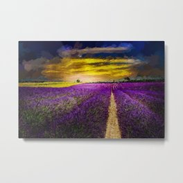 Lavender Fields Under a Golden Sunset Twilight landscape painting Metal Print