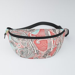 Coral and Teal Abstract Art Pattern Fanny Pack