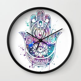 Hamsa Hand Colorful Watercolor Wall Clock
