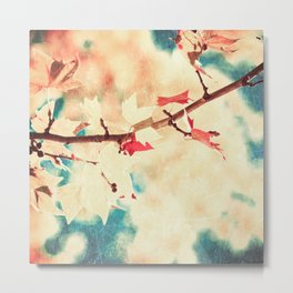 Autumn (Leafs in a textured and abstract sky) Metal Print