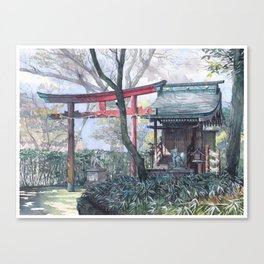 Shiratamainari shrine in watercolours Canvas Print