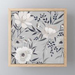 Modern, Boho, Floral Prints, Gray and White Framed Mini Art Print