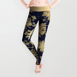 Elegant vintage navy blue faux gold flowers Leggings