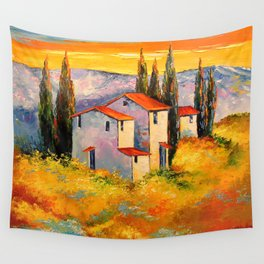 Settlement in the mountains Wall Tapestry