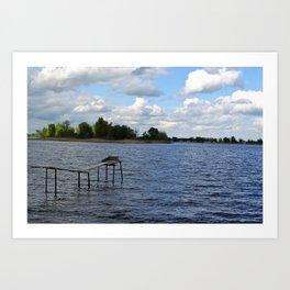 Landscape on the river Art Print