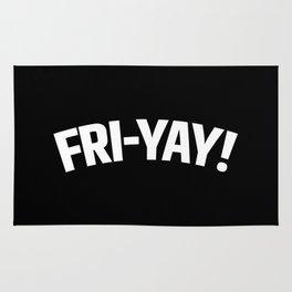 FRI-YAY! FRIDAY! FRIYAY! TGIF! (Black & White) Rug