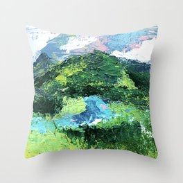 Gunnison: a vibrant acrylic mountain landscape in greens, blues, and a splash of pink Throw Pillow