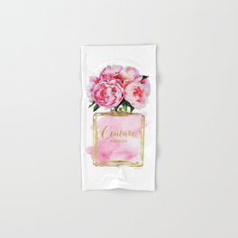 Perfume bottle with flowers, Peony, Peonies, Pink, gold, watercolor, Perfume, Pink, Gold ,Fashion Hand & Bath Towel