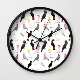 Australian cockatoos pattern Wall Clock