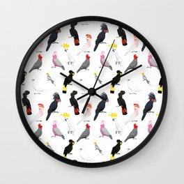 Australian cockatoos pattern Wall Clock