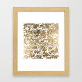 Elegant chic faux gold foil paint splatters pattern Framed Art Print