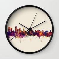 liverpool Wall Clocks featuring Liverpool England Skyline by artPause