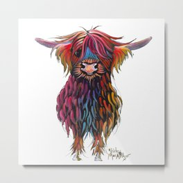 Scottish Highland Cow ' WiNSToN ' by Shirley MacArthur Metal Print