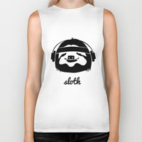 sloth Biker Tanks featuring Sloth by Max Las