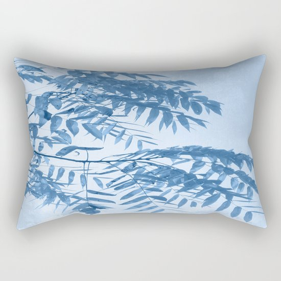 Blue Foliage Rectangular Pillow