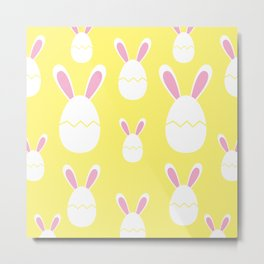 Happy Bunnies in Yellow | Easter Bunny | Easter Egg Bunny | pulps of wood Metal Print