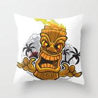 tiki Throw Pillows featuring Tiki by Eye Opening Design