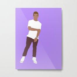 Rainy Day Boy Paint Art Purple Metal Print