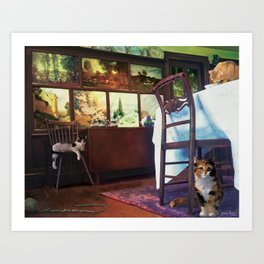 Cats in Dining Room Art Print