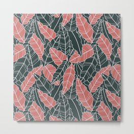 Pink and gray leaves line artwork Metal Print