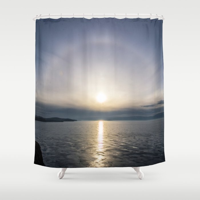 Halo Over Ice Of Lake Baikal Shower Curtain