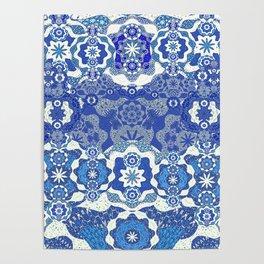 Boujee Boho Deep Blue Elegant Lace Poster