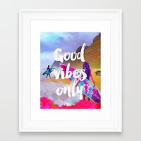 good vibes only Framed Art Prints featuring Good vibes only surfers by Good vibes and coffee