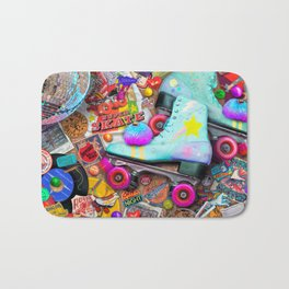 Super Retro Roller Skate Night Bath Mat