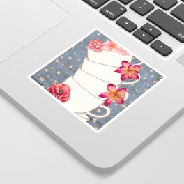 Floral Coffee Cups Sticker